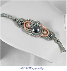 The soutache bracelet The Grey Intrigue by eMKaHandMade on Etsy