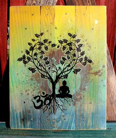 """Bodhi Tree """"Om"""" Pallet Art - Upcycled    One-Of-A-Kind     8.5 X 11   Airbrushed & Screen Printed"""