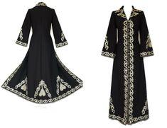 07b238448 60s gold embroidered black MAXi COAT, vintage 1960s long hippie coat,  statement coat, Jimi Hendrix, bohemian goddess, rock star coat, UK 14