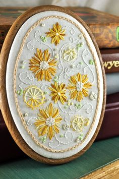 Hand Embroidery Hoop Art on Antique Hoop by PapercutOuchy on Etsy