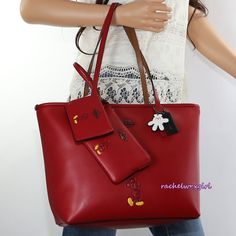 NWT Disney X Coach Mickey Mouse Red Leather City Tote Bag Wristlet Mini ID Case #Coach #TotesShoppers