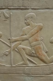 Sakhara – Saqqâra (Central Egypt), Tomb of Kagemni – Mastaba 25 (Mastaba of Vizir Kagemni; Old Kingdom, early 6th dynasty, after 2347 B.C.).  Shipping on the Nile,