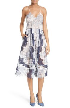Main Image - Self-Portrait Camellias Lace Fit & Flare Dress