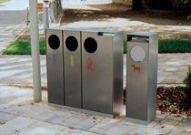 Cubo de basura público / de acero inoxidable / de acero galvanizado / con cenicero integrado