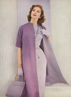 A beautiful purple outfit worn by Suzy Parker in the late 1950's. The purse is my personal favorite part of this outfit. #styleicon and #modcloth