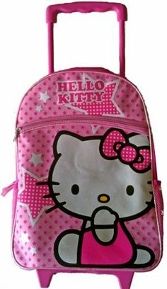 """Hello Kitty Large Rolling Backpack Pink Stars (688955826250) large rolling backpack, strong wheels, approx 16""""x12"""", retractable handle licensed item, brand new, spacious zippered compartment, big front pocket and side compartment."""