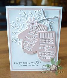 "Have I mentioned how much I love the Smitten Mitten bundle? I may have featured it a few times on my blog, but here's another example of why it is so great...this is a very easy card that ends up looking so special! I simply cut the mittens from Powder Pink cardstock and accented with a few silver touches. The sentiment from ""Hearts Come Home"" is heat embossed in silver, and while this doesn't show well in the photograph, it is striking in person. I can never emphasize..."