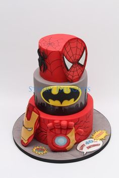 Superhero cake - ironman, batman, spiderman - Cake by Starry Delights - For all your cake decorating supplies, please visit craftcompany.co.uk