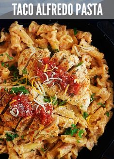Taco seasoned chicken is served over an Alfredo sauce and pasta with a southwestern twist. This Chicken Taco Alfredo is sure to become a family favorite! Teriyaki Chicken Casserole, Chicken Pasta Recipes, Chicken Tacos, Healthy Chicken Recipes, Cooking Recipes, Pasta Meals, Chicken Meals, Fun Recipes, Delicious Recipes