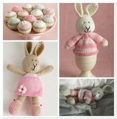 Super cute knitted animals! Cupcake,hedgehog and egg cup bunny pattern available. Must knit cupcakes for Sam!