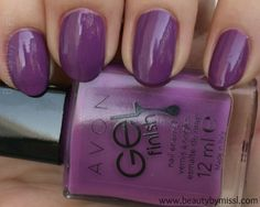 Avon Gel Finish nail polish in Purplicious #swatches and #review via @beautybymissl