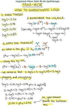 'Problems involving log functions not common on MCAT' - Kaplan Gen. Mcat Study Tips, School Study Tips, Pa School, Medical School, Science Notes, E Mc2, Med Student, School Motivation, Study Notes