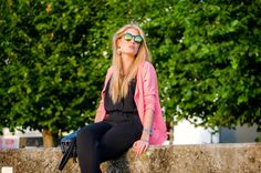 Polished Cats: Outfit: Green, Pink & A jumpsuit