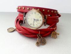 Purple scarlet leather long strap watch wrap by MKedraDecoupage, $28.00