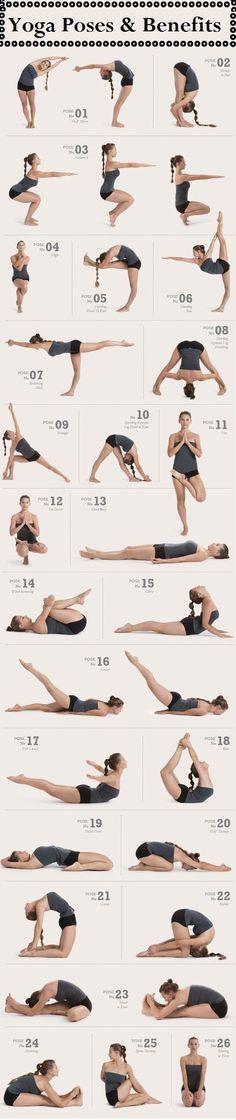 Posições de yoga e seus benefícios.