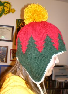 Handknit earflap hat inspired from the Minnesota Wild logo---Holy crap this is amazing