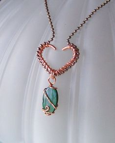 Items similar to OOAK Art Pendant Necklace - Copper Wire Wrapped Heart and Paua or Abalone Shell and Oxidized Silver Plate on Etsy Copper Jewelry, Wire Jewelry, Pendant Jewelry, Jewelry Crafts, Beaded Jewelry, Copper Wire, Jewellery, Jewelry Ideas, Wire Necklace