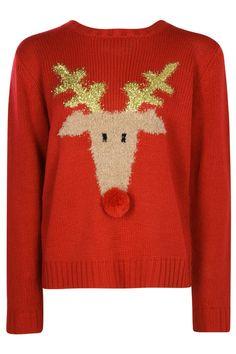Evie Pom Pom Rudolph Christmas Jumper at boohoo.com