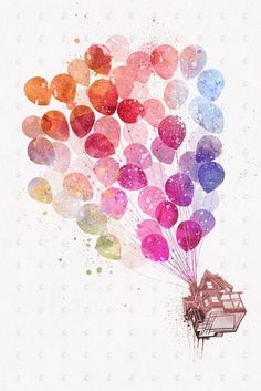 PenelopeLovePrints Up the Flying House with Balloons Poster prints - 3