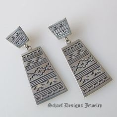 Sterling silver indian blanket design post dangle earrings  | Schaef Designs | New Mexico