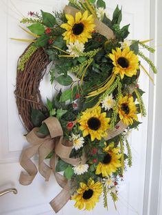 SUNFLOWER 33-Inch Spring Summer Wreath Yellow Red Door Wreath Free Shipping picclick.com
