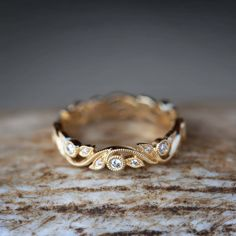 Diamond Engagement Ring with Unique Floral Pattern. Handcrafted by Staghead Designs. Diamond Engagement Ring with Unique Floral Pattern. Handcrafted by Staghead Designs. Leaf Engagement Ring, Morganite Engagement, Vintage Engagement Rings, Diamond Wedding Bands, Diamond Rings, Womens Gold Wedding Band, Flower Wedding Rings, Unique Wedding Bands For Women, Leaf Wedding Band
