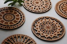 Geometric Wood Cut Coasters - Laser Cut Adler Wood Coasters - Set of 5 on Etsy, $28.00