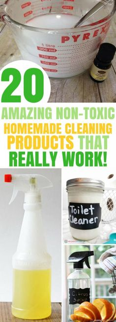 These are the best DIY Natural Non-Toxic Homemade Cleaning Products I have tried! Find 20 fabulous cleaning recipes using vinegar, essential oils that are for all purpose and will leave your home spotless. I have tried most of these and they really work! Deep Cleaning Tips, House Cleaning Tips, Spring Cleaning, Cleaning Hacks, Diy Hacks, Green Cleaning Recipes, Natural Cleaning Recipes, Toilet Cleaning Tips, Norwex Cleaning