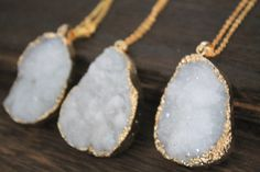 Mystic White Druzy Necklace in golden Christmas gift N1318A