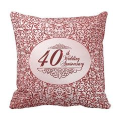 fortieth Wedding ceremony Anniversary Throw Pillow. *** Learn even more by visiting the picture link