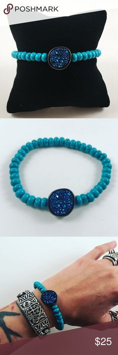 Women turquoise blue druzy quartz beaded bracelet Women beaded bracelet. Fits most , 6 to 7.5 inch wrist . Handmade by me , never worn by anyone. Made with turquoise beads and a beautiful blue/purple galaxy quartz. I ship fast !! ✈️Bundle and save !! ( 10 % off bundles) . Any questions let me know ! No transactions outside Poshmark!! Jewelry Bracelets