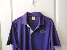 Lacoste Sport Authentic Solid Purple Oversized Croc Polo Shirt SZ 6 Quick Ship #Lacoste #PoloRugby