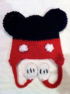 Madi P's Cutie Crochet Mickey Mouse Earflap hat w/braids via Etsy.com $24 #mickey #mouse #crochet #disney #hat