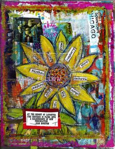 Art Journaling in ThreePhases - daisy yellow - create explore paint