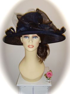 BNWT Weddings  Gwyther Snoxell  Hat, 18.5 inch, Navy Blue, Sinamay & Jewels