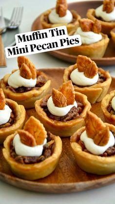 Individual Desserts, Mini Desserts, Delicious Desserts, Fall Desserts, Pecan Desserts, Muffin Tin Recipes, Pie Recipes, Baking Recipes, Sweets