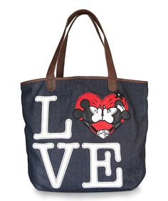 Black Mickey & Minnie Mouse Love Denim Tote by Mickey Mouse & Minnie Mouse #zulily #zulilyfinds