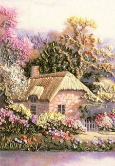 Good news for silk ribbon embroidery fans The popular SWAN COTTAGE kit is once again available Suitable for the beginner this kit provides a perfect opportunity to learn. Silk Ribbon Embroidery, Crewel Embroidery, Cross Stitch Embroidery, Machine Embroidery, Creative Embroidery, Hand Embroidery Designs, Embroidery Patterns, Cottage Kits, Etiquette Vintage