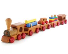 Wooden Toy Train. Natural Wood Passenger Train. by Aero1Toys