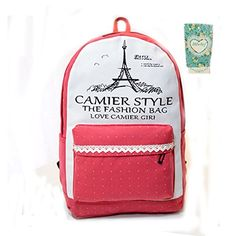 Hibelief Girls Backpack Dot Paris Tower Travel Bags Satchels Students Laptop Bags red *** Click image for more details. (Note:Amazon affiliate link)