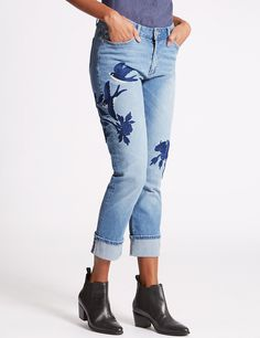 m&s womens embroidered jeans