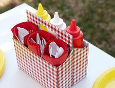 Cover & Use an Old Cardboard Drink Carrier as a Utensil Caddy ! Great for BBQ's , Pic Niks & Party's Decoration Table, Paper Decorations, Utensil Caddy, Condiment Caddy, Table Caddy, Utensil Holder, Ways To Recycle, Repurpose, Reuse