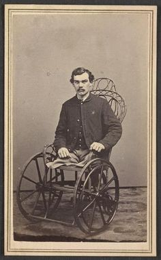 Corporal Michael Dunn of Co. H, 46th Pennsylvania Infantry Regiment, after the amputation of his legs in 1864, the result of injuries received in a battle near Dallas, Georgia, on May 25, 1864.