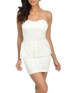 Lace Peplum Tube Dress Dresses