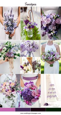 16 Stunning Summer Wedding Flowers---purple sweetpea wedding bouquets, wedding decorations, wedding centerpieces, wedding cakes with cascading flowers Lavender Wedding Theme, Wedding Flower Guide, Purple Wedding Bouquets, Plum Wedding, Spring Wedding Flowers, Floral Wedding, Summer Wedding, Wedding Colors, Spring Wedding Themes