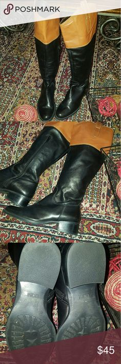 DGM Italian Leather Riding Boots Brown Top, Black Italian Leather Riding Boots,  Gently worn, size 36 super cute! DGM Shoes Heeled Boots