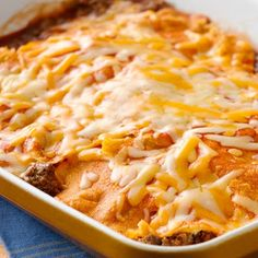 Easy Layered Beef Enchiladas @keyingredient #cheese #easy