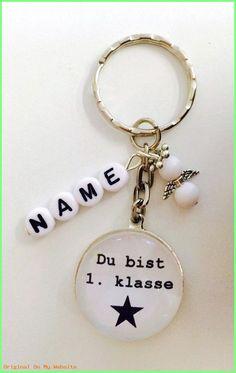 Perlenschutzengel Schlüssel-Anhänger in Rosa mit 2x Wunschname-Geschenk Handmade