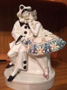 BEAUTIFUL GOLDSCHEIDER , Vienna figurine Pierrot and Columbine  #ArtDeco #Goldscheider