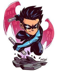 Drawing Dc Comics Chibi Nightwing Print — Derek Laufman - **Price is in US Dollars** Signed x Print on high quality gloss stock. Chibi Marvel, Marvel Vs, Marvel Dc Comics, Nightwing, Character Drawing, Comic Character, Character Design, Logo Super Heros, Dc Heroes